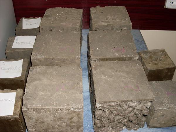 Испытание бетона - прочность бетона на сжатие 2