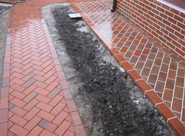 Устройство отмостки вокруг дома из тротуарной плитки 5